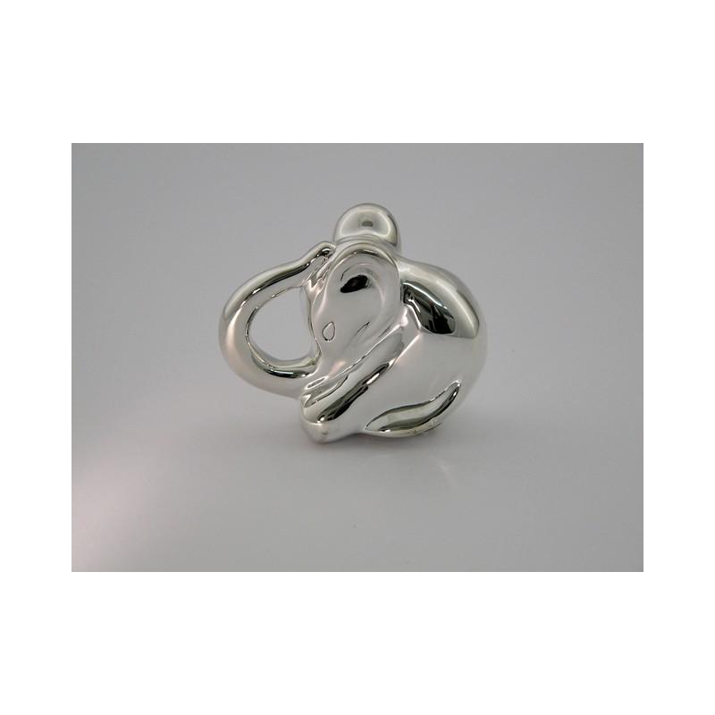 Silber Babyrassel - Elefant