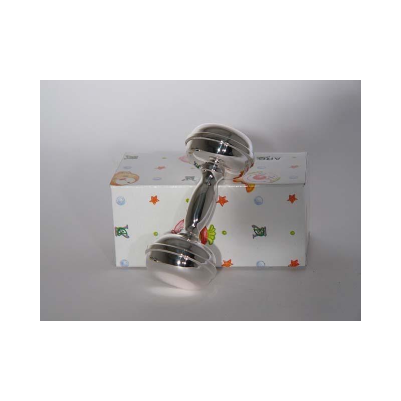 Silber Babyrassel - Hantel rund