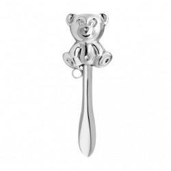 Silber Babyrassel - Teddy-Bär