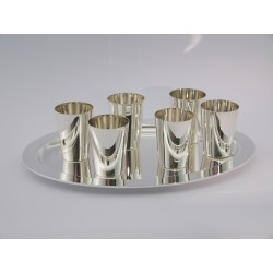 6 Silberbecher mit Tablett _1