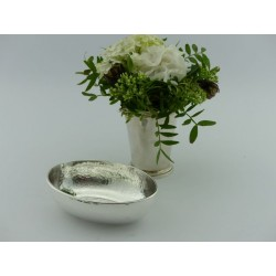 Silberschale oval Hammerschlag