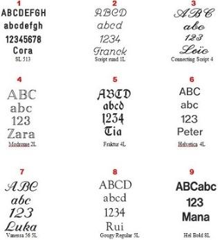 Schriftarten für Gravuren